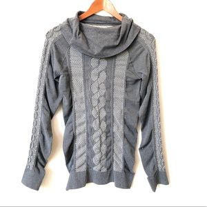 Athleta Gray Long Sleeve Cowl Neck Fitted Top  M